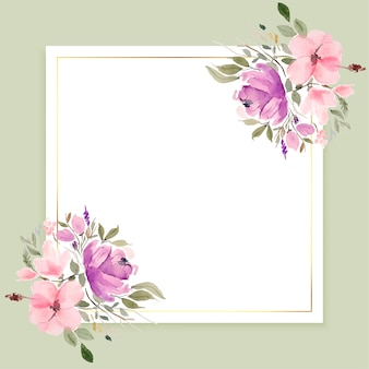 Watercolor flowers frame