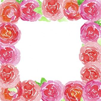 水彩画の花のフレーム
