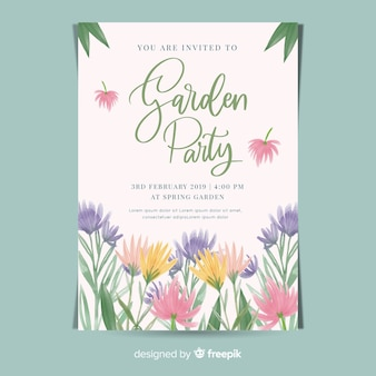 Watercolor flowers garden party poster