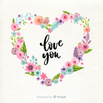 Watercolor flowers in heart shape for valentine