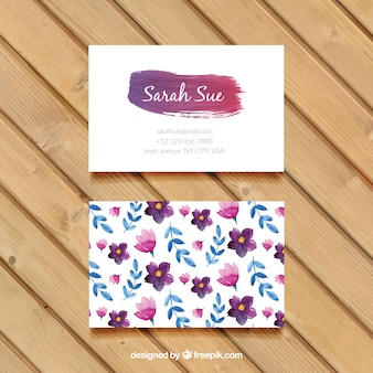 Watercolor flowers and leaves business card