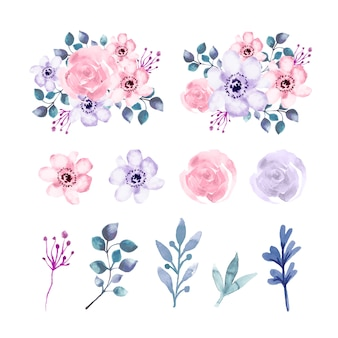 Watercolor flowers and leaves element set
