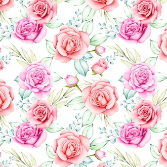 Watercolor flowers and leaves seamless pattern
