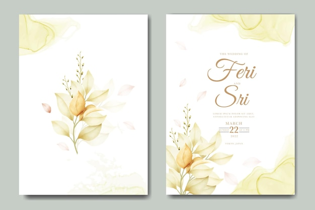 Watercolor flowers and leaves wedding invitation card  template