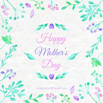 Watercolor flowers mother's day background
