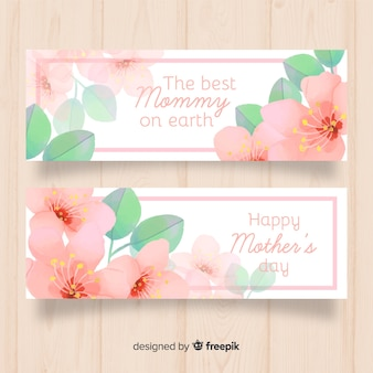 Watercolor flowers mother's day banner
