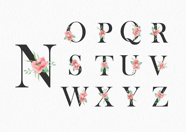 Nからzのアルファベットのテンプレートに水彩花