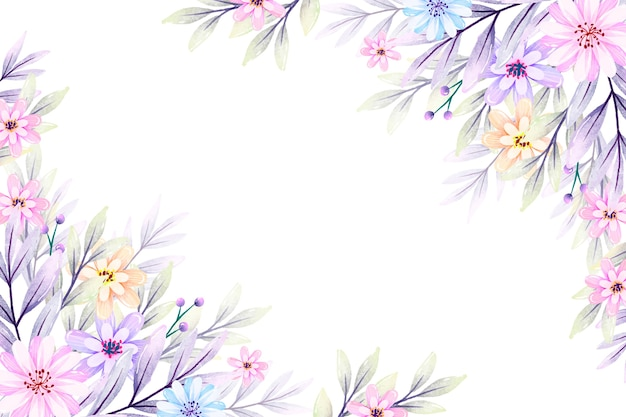Watercolor flowers in pastel colors
