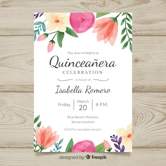 Watercolor flowers quinceanera card template