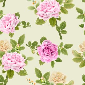 水彩花シームレスパターン