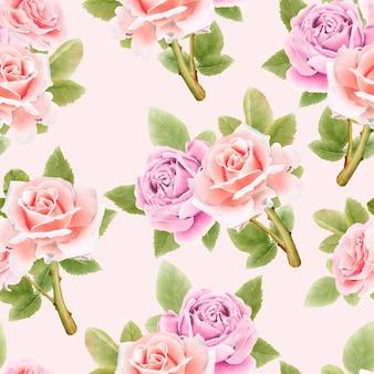 Акварель цветы бесшовные модели