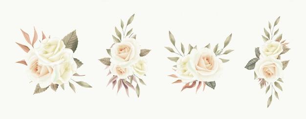 Акварель цветы в букет из белых роз и винтажный стиль листьев.