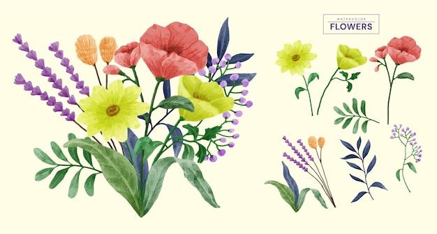 Набор акварельных цветов.