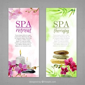 Watercolor flowers and spa elements banners