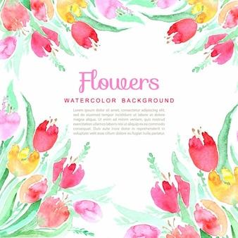水彩ベクトルの花の春の背景