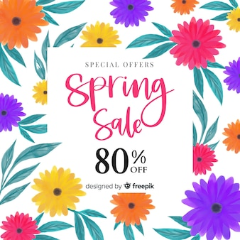 Watercolor flowers spring sale background