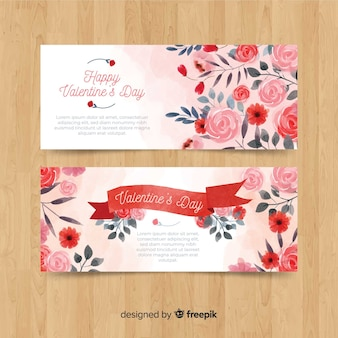 Watercolor flowers valentine banner