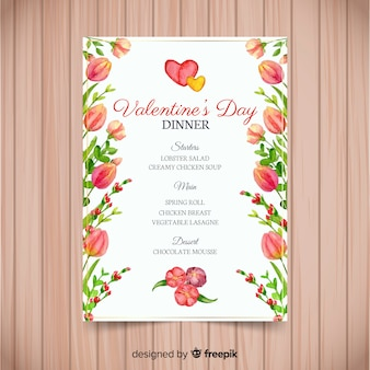 Watercolor flowers valentine menu template