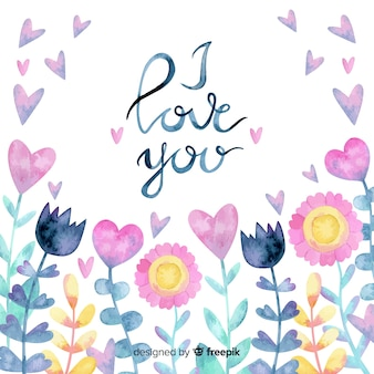 Watercolor flowers valentine's day background