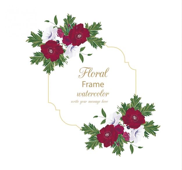 水彩花のビンテージフレーム