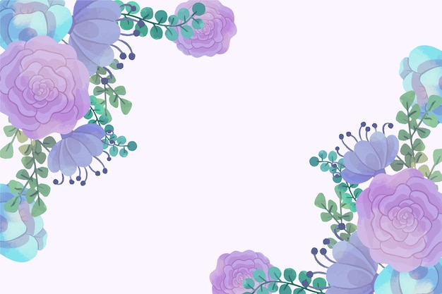 Watercolor flowers for wallpaper concept  in pastel colors