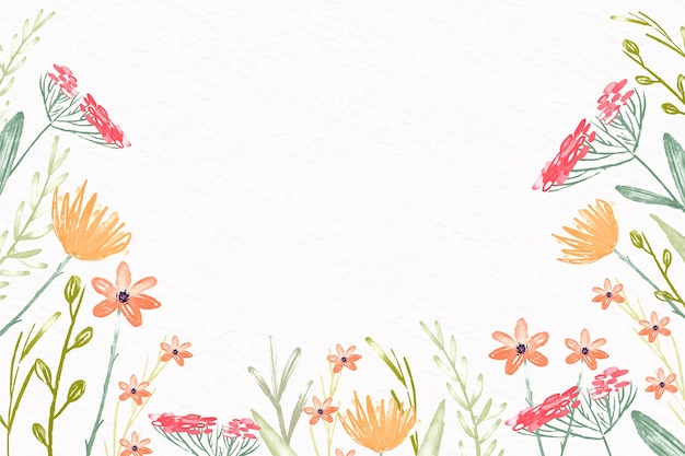 パステルカラーデザインの水彩花の壁紙