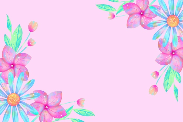Watercolor flowers wallpaper in pastel colors concept