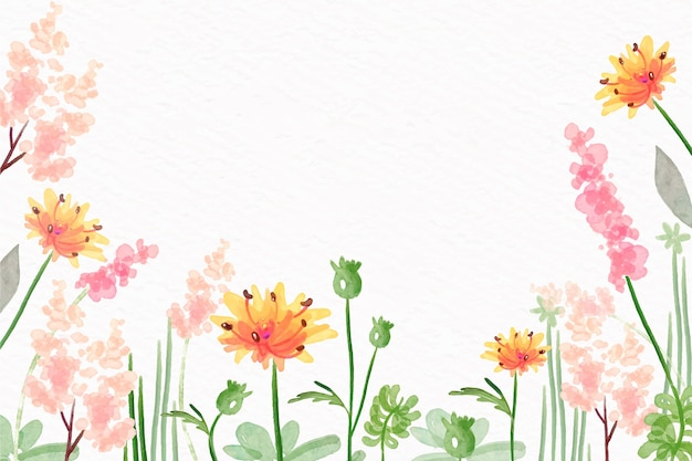 Watercolor flowers wallpaper in pastel colors style