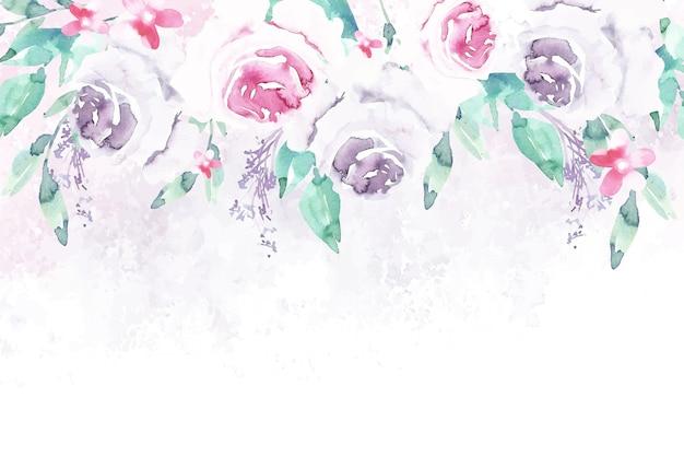 Watercolor flowers wallpaper in pastel colors