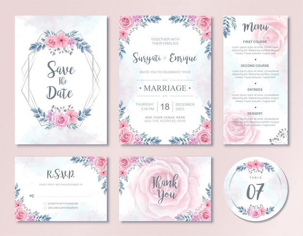 Watercolor flowers wedding invitation card template set