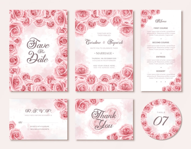 Watercolor flowers wedding invitation card