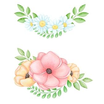 Акварельный цветочный венок из ромашки и мака