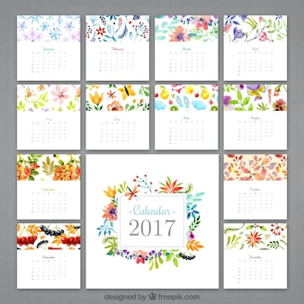 Watercolor flowery calendar 2017