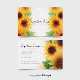 Watercolor flwatercolor floral business card templateoral business card template