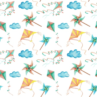Watercolor flying kites in the sky seamless pattern