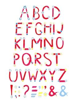 水彩フォント。手描きのアルファベット。