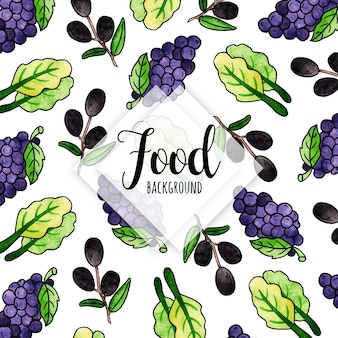 Watercolor food background