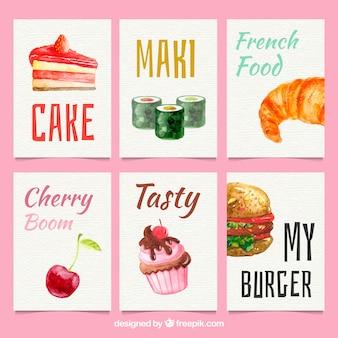 Raccolta di carte di cibo dell'acquerello Vettore gratuito