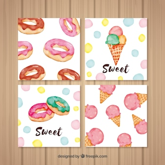 Watercolor food card collection