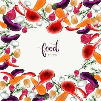 Watercolor food frame with colorful style