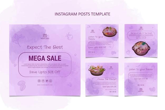 Watercolor food instagram post