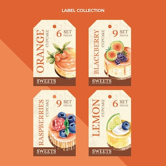 수채화 식품 라벨 컬렉션