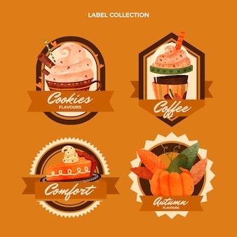 Watercolor food labels set