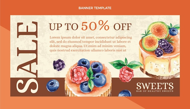 Watercolor food sale background