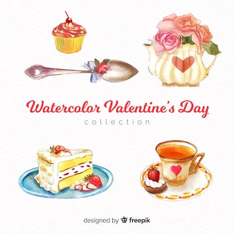 Watercolor food valentine elements pack