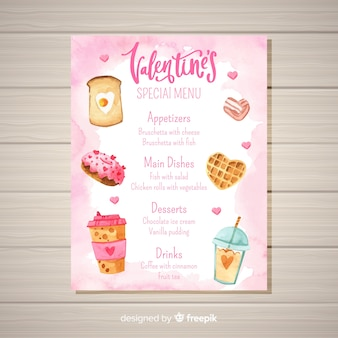 Watercolor food valentine menu template