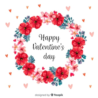 Watercolor foral wreath valentine background