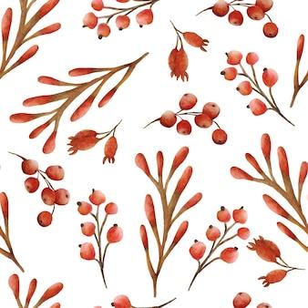 수채화 숲가 열매 패턴