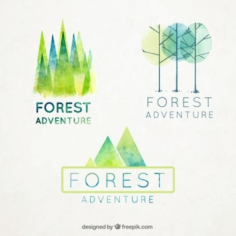 Watercolor forest badges set