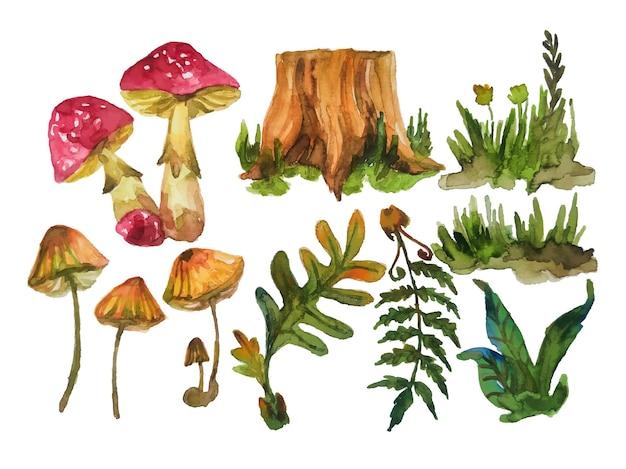 水彩の森の要素ベクトル